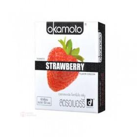 ถุงยางอนามัย Okamoto Strawberry (กลิ่นสตอเบอรี่)