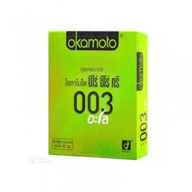 ถุงยางอนามัย Okamoto 003 Aloe (แบบบาง, เจลสูตรน้ำว่านหางจระเข้)